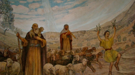 Foto © Ahiolo (2013) – Fresco in het Kapel op het Franciscaans herdersveld in Beit Sahour (Bethlehem-Efratha).